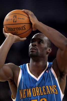 OAKLAND, CA - JANUARY 27:  Emeka Okafor #50 of the New Orleans Hornets in action during their game against the Golden State Warriors at Oracle Arena on January 27, 2010 in Oakland, California.  NOTE TO USER: User expressly acknowledges and agrees that, by