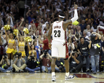 CLEVELAND - MAY 01: LeBron James #23 of the Cleveland Cavaliers reacts after beating the Boston Celtics 101-93 in Game One of the Eastern Conference Semifinals during the 2010 NBA Playoffs at Quicken Loans Arena on May 1, 2010 in Cleveland, Ohio.  NOTE TO