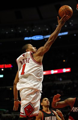 CHICAGO - FEBRUARY 26: Derrick Rose #1 of the Chicago Bulls puts up a shot against the Portland Trail Blazers at the United Center on February 26, 2010 in Chicago, Illinois. The Bulls defeated the Trail Blazers 115-111 in overtime. NOTE TO USER: User expr