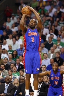 BOSTON - MAY 28:  Rodney Stuckey #3 of the Detroit Pistons shoots a jump shot in Game Five of the Eastern Conference Finals against the Boston Celtics during the 2008 NBA Playoffs at TD Banknorth Garden on May 28, 2008 in Boston, Massachusetts.  The Celti