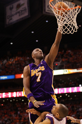 PHOENIX - MAY 29:  Lamar Odom #7 of the Los Angeles Lakers goes up for a shot against the Phoenix Suns in the second quarter of Game Six of the Western Conference Finals during the 2010 NBA Playoffs at US Airways Center on May 29, 2010 in Phoenix, Arizona