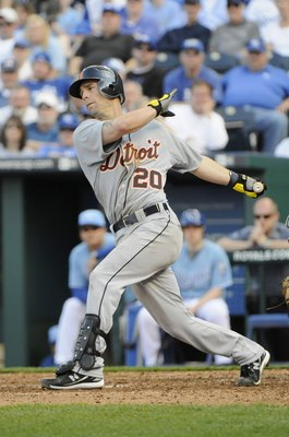 KANSAS CITY, MO - APRIL 05:  Scott Sizemore #20 of the Detroit Tigers swings at the pitch during the season opener against the Kansas City Royals on April 5, 2010 at Kauffman Stadium in Kansas City, Missouri. (Photo by G. Newman Lowrance/Getty Images)