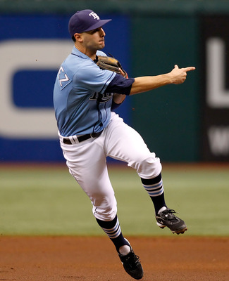 ST. PETERSBURG - JUNE 27:  Infielder Sean Rodriguez #1 of the Tampa Bay Rays throws to first base for an out against the Arizona Diamondbacks during the game at Tropicana Field on June 27, 2010 in St. Petersburg, Florida.  (Photo by J. Meric/Getty Images)