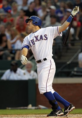 ARLINGTON, TX - MAY 11:  Ian Kinsler #5 of the Texas Rangers on May 11, 2010 at Rangers Ballpark in Arlington, Texas.  (Photo by Ronald Martinez/Getty Images)