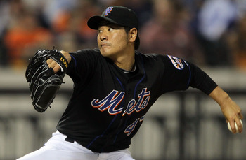 NEW YORK - JULY 31:  Hisanori Takahashi #47 of the New York Mets delivers a pitch against the Arizona Diamondbacks on July 31, 2010 at Citi Field in the Flushing neighborhood of the Queens borough of New York City.  (Photo by Jim McIsaac/Getty Images)