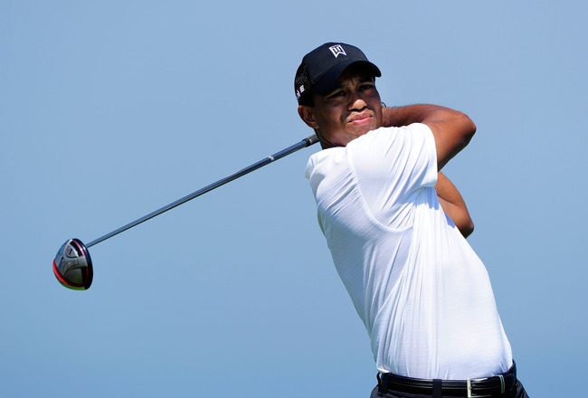 KOHLER, WI - AUGUST 12:  Tiger Woods hits his tee shot on the 16th hole during the first round of the 92nd PGA Championship on the Straits Course at Whistling Straits on August 12, 2010 in Kohler, Wisconsin.  (Photo by Stuart Franklin/Getty Images)