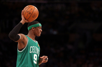 LOS ANGELES, CA - JUNE 15:  Rajon Rondo #9 of the Boston Celtics looks for an open pass in the first half against the Los Angeles Lakers in Game Six of the 2010 NBA Finals at Staples Center on June 15, 2010 in Los Angeles, California.  NOTE TO USER: User