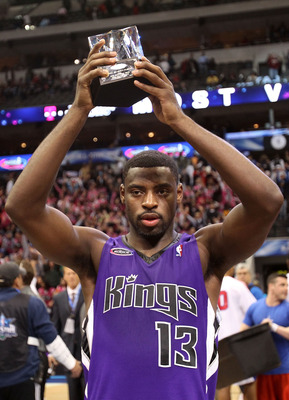 DALLAS - FEBRUARY 12:  Tyreke Evans #13 of the Rookie team holds MVP trophy after defeating the Sophomore team during the T-Mobile Rookie Challenge & Youth Jam part of 2010 NBA All-Star Weekend at American Airlines Center on February 12, 2010 in Dallas, T