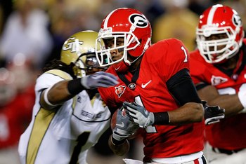 ATLANTA - NOVEMBER 28:  Branden Smith #1 of the Georgia Bulldogs against the Georgia Tech Yellow Jackets at Bobby Dodd Stadium on November 28, 2009 in Atlanta, Georgia.  (Photo by Kevin C. Cox/Getty Images)