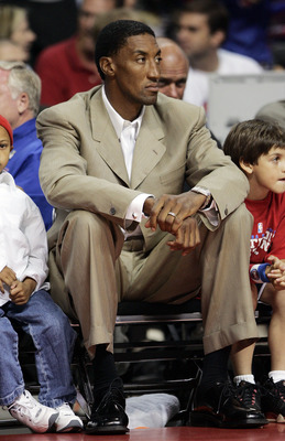 AUBURN HILLS, MI - JUNE 14:  NBA legend Scotty Pippen watches as the Detroit Pistons take on the San Antonio Spurs in Game three of the 2005 NBA Finals at The Palace of Auburn Hills on June 14, 2005 in Auburn Hills, Michigan. The Pistons defeated the Spur