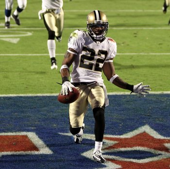 MIAMI GARDENS, FL - FEBRUARY 07:  Tracy Porter #22 of the New Orleans Saints returns a interception for touchdown against of the Indianapolis Colts during Super Bowl XLIV on February 7, 2010 at Sun Life Stadium in Miami Gardens, Florida.  (Photo by Ezra S
