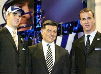Eli Manning, Tom Condon and Peyton Manning