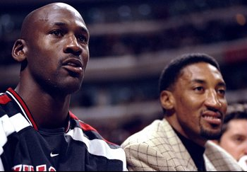 14 Nov 1997:  Guards Michael Jordan and Scottie Pippen look on during a game against the Charlotte Hornets at the United Center in Chicago, Illinois.  The Bulls defeated the Hornets  105-92. Mandatory Credit: Jonathan Daniel  /Allsport
