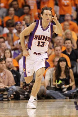 PHOENIX - MAY 29:  Steve Nash #13 of the Phoenix Suns reacts after a play against the Los Angeles Lakers in the first quarter of Game Six of the Western Conference Finals during the 2010 NBA Playoffs at US Airways Center on May 29, 2010 in Phoenix, Arizon