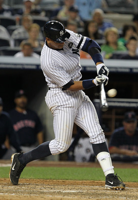NEW YORK - AUGUST 06:  Alex Rodriguez #13 of the New York Yankees drives in a run against the Boston Red Sox on August 6, 2010 at Yankee Stadium in the Bronx borough of New York City.  (Photo by Al Bello/Getty Images)