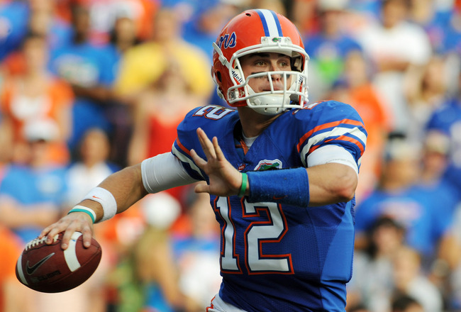 GAINESVILLE, FL - NOVEMBER 21: Quarterback John Brantley #12 of the Florida Gators sets to pass against the Florida International University Golden Panthers, November 21, 2009 at Ben Hill Griffin Stadium in Gainesville, Florida.  (Photo by Al Messerschmid