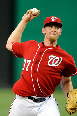 WASHINGTON - JULY 09:  Stephen Strasburg #37 of the Washington Nationals pitches against the San Francisco Giants at Nationals Park on July 9, 2010 in Washington, DC.  (Photo by Greg Fiume/Getty Images)