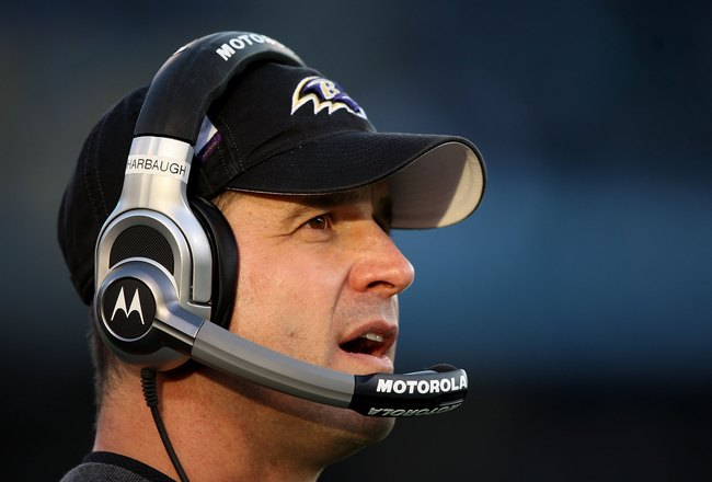 OAKLAND, CA - JANUARY 03:  Head coach John Harbaugh of the Baltimore Ravens looks on against the Oakland Raiders during an NFL game at Oakland-Alameda County Coliseum on January 3, 2010 in Oakland, California.  (Photo by Jed Jacobsohn/Getty Images)