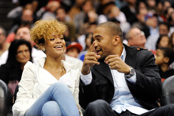 LOS ANGELES, CA - JANUARY 16:  Singers Rihanna and Matt Kemp outfileder of the Los Angeles Dodgers baseball team attend Cleveland Caveliers and  Los Angeles Clippers NBA basketball game at Staples Center on January 16, 2010 in Los Angeles, California. NOT