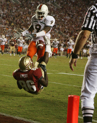 TALLAHASSEE, FL - SEPTEMBER 07: Defensive back Sam Shields #9 of the Miami Hurricanes knocks the ball away from wide receiver Rod Owens #86 of the Florida State Seminoles during a goal line stand late in the fourth quarter at Doak Campbell Stadium on Sept