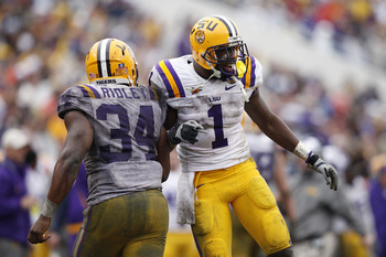 ORLANDO, FL - JANUARY 1: Brandon LaFell #1 and Stevan Ridley #34 of the LSU Tigers celebrate after Ridley scored a touchdown in the fourth quarter against the Penn State Nittany Lions during the 2010 Capital One Bowl at the Florida Citrus Bowl Stadium on