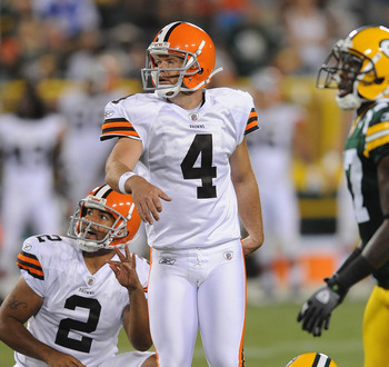 GREEN BAY, WI - AUGUST 14: Phil Dawson #4 of the Cleveland Browns watches his game winning field goal during the NFL preseason game against the Green Bay Packers at Lambeau Field August 14, 2010 in Green Bay, Wisconsin. (Photo by Tom Dahlin/Getty Images)