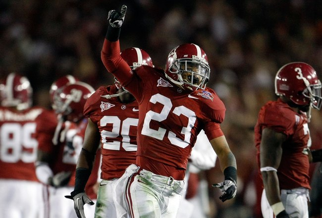 PASADENA, CA - JANUARY 07:  Robby Green #23 of the Alabama Crimson Tide celebrateslate in the fourth quarter of the Citi BCS National Championship game against the Texas Longhorns at the Rose Bowl on January 7, 2010 in Pasadena, California. The Crimson Ti