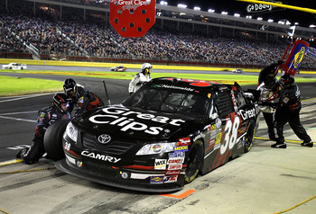 CONCORD, NC - OCTOBER 15:  Jason Leffler, driver of the #38 Great Clips Toyota, pits during the NASCAR Nationwide Series Dollar General 300 at Charlotte Motor Speedway on October 15, 2010 in Concord, North Carolina.  (Photo by Tom Whitmore/Getty Images fo