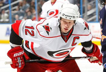 ATLANTA - MARCH 29:  Eric Staal #12 of the Carolina Hurricanes against the Atlanta Thrashers at Philips Arena on March 29, 2010 in Atlanta, Georgia.  (Photo by Kevin C. Cox/Getty Images)