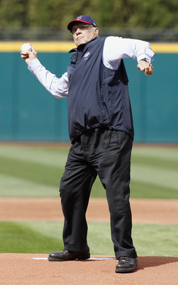 CLEVELAND, OH - APRIL 12: Hall of Fame Cleveland Indian pitcher Bob Feller throws out the first pitch prior to the Cleveland Indians playing the Texas Rangers duirng Opening Day on April 12, 2010 at Progressive Field in Cleveland, Ohio.  (Photo by Gregory