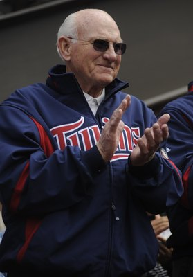 MINNEAPOLIS, MN - APRIL 12: Hall of Famer Harmon Killebrew of the Minnesota Twins at the Kirby Puckett statue unveiling prior to a game between the Boston Red Sox and Minnesota Twins during the Twins home opener at Target Field on April 12, 2010 in Minnea