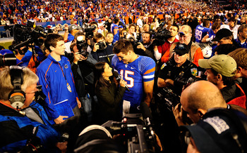 GAINESVILLE, FL - NOVEMBER 28:  Tim Tebow #15 of the Florida Gators speaks to the media following the game against the Florida State Seminoles at Ben Hill Griffin Stadium on November 28, 2009 in Gainesville, Florida.  (Photo by Sam Greenwood/Getty Images)