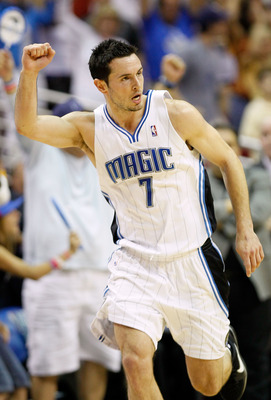 ORLANDO, FL - MAY 26:  J.J. Redick #7 of the Orlando Magic reacts after he made a 3-point shot in the first half against the Boston Celtics in Game Five of the Eastern Conference Finals during the 2010 NBA Playoffs at Amway Arena on May 26, 2010 in Orland