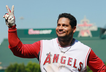 ANAHEIM, CA - AUGUST 11:  Bobby Abreu #53 of the Los Angeles Angels of Anaheim acknowledges the fans after hitting the game winning walk-off solo home run in the 10th inning a gainst the Kansas City Royals at Angel Stadium on August 11, 2010 in Anaheim, C