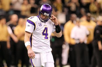 NEW ORLEANS - JANUARY 24:  Brett Favre #4 of the Minnesota Vikings adjusts his helmeti against the New Orleans Saints during the NFC Championship Game at the Louisiana Superdome on January 24, 2010 in New Orleans, Louisiana. The Saints won 31-28 in overti