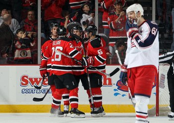 NEWARK, NJ - MARCH 23:  The New Jersey Devils celebrate against the Columbus Blue Jackets at the Prudential Center on March 23, 2010 in Newark, New Jersey. The Devils defeated the Blue Jackets 6-3.  (Photo by Jim McIsaac/Getty Images)