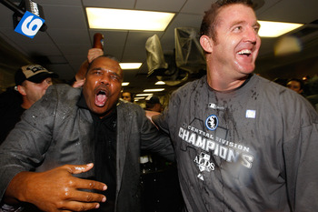 CHICAGO - SEPTEMBER 30:  (L-R)  General manager Kenny Williams and Jim Thome #25 of the Chicago White Sox celebrate in the locker room against the Minnesota Twins during the American League Central Division Tiebreaker game at U.S. Cellular Field on Septem