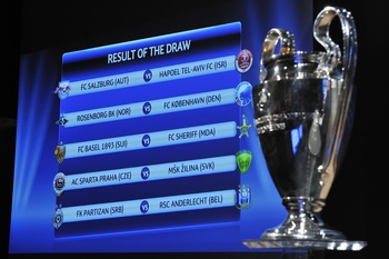 NYON, SWITZERLAND - AUGUST 06:  The results of the draw for the play-off of the UEFA Champions League is displayed behind the trophy during the UEFA Champions League play-off draw on August 6, 2010 in Nyon, Switzerland. The play-offs are played over two l