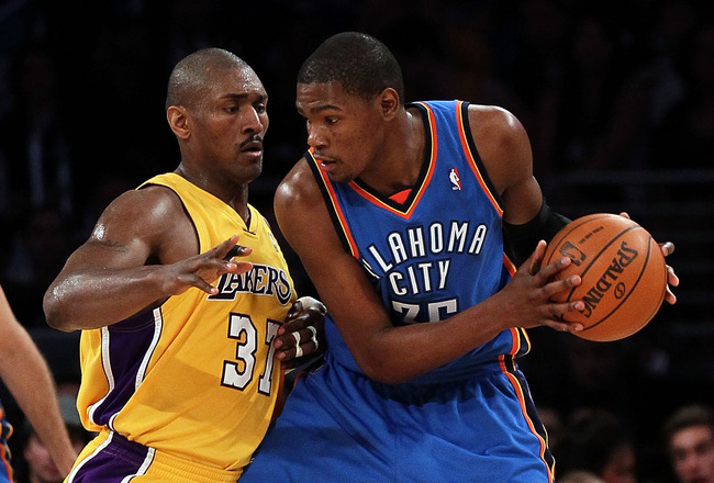 LOS ANGELES, CA - APRIL 27:  Kevin Durant #35 of the Oklahoma City Thunder posts up Ron Artest #37 of the Los Angeles Lakers in the first half during Game Two of the Western Conference Quarterfinals of the 2010 NBA Playoffs at Staples Center on April 27,