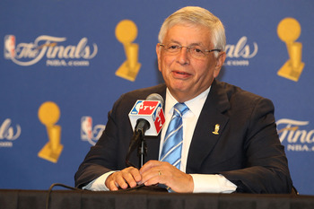 LOS ANGELES, CA - JUNE 03:  NBA Commissioner David Stern talks with the media prior to the start of Game One of the 2010 NBA Finals between the Boston Celtics and the Los Angeles Lakers at Staples Center on June 3, 2010 in Los Angeles, California.  NOTE T