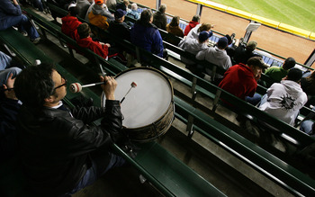 MILWAUKEE - APRIL 10: John Adams, who plays the base drum in the outfield bleachers at Jacobs Field in Cleveland, travelled to Milwaukee to watch as the Cleveland Indians take on the Los Angeles Angels of Anaheim on April 10, 2007 at Miller Park in Milwau