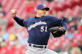 CINCINNATI - MAY 18:  Trevor Hoffman #51 of the Milwaukee Brewers throws a pitch in the 9th inning during the game against the Cincinnati Reds at Great American Ball Park on May 18, 2010 in Cincinnati, Ohio. The Reds won 5-4. (Photo by Andy Lyons/Getty Im