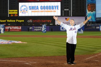 NEW YORK - SEPTEMBER 28:  Former New York Mets players John Franco waves to the fans at home plate after the game against the Florida Marlins to commemorate the last regular season baseball game ever played in Shea Stadium on September 28, 2008 in the Flu