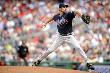 WASHINGTON - APRIL 12:  John Smoltz #29 of the Atlanta Braves pitches against the Washington Nationals April 12, 2008 at Nationals Park in Washington, DC.  (Photo by Greg Fiume/Getty Images)
