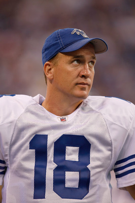 INDIANAPOLIS, IN - AUGUST 15: Peyton Manning #18 of the Indianapolis Colts looks on during the preseason game against the San Francisco 49ers at Lucas Oil Stadium on August 15, 2010 in Indianapolis, Indiana.  (Photo by Scott Boehm/Getty Images)