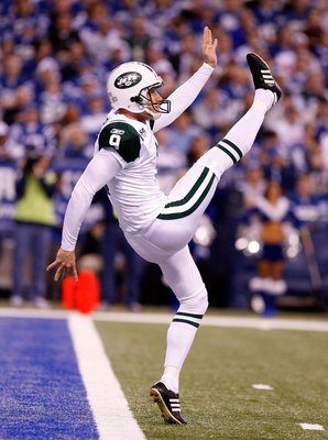 INDIANAPOLIS - DECEMBER 27: Steve Weatherford #9 of the New York Jets punts the ball during the NFL game against at the Indianapolis Colts Lucas Oil Stadium on December 27, 2009 in Indianapolis, Indiana.  (Photo by Andy Lyons/Getty Images)