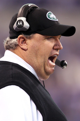 INDIANAPOLIS - JANUARY 24:  Head coach Rex Ryan of the New York Jets calls out in the first quarter against the Indianapolis Colts during the AFC Championship Game at Lucas Oil Stadium on January 24, 2010 in Indianapolis, Indiana.  (Photo by Andy Lyons/Ge