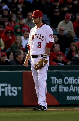 ANAHEIM, CA - APRIL 28:  Third baseman Brandon Wood #3 of the Los Angeles Angels of Anaheim stands in the the infield in the game against the Cleveland Indians on April 28, 2010 at Angel Stadium in Anaheim, California.  The Angels won 4-3.  (Photo by Step
