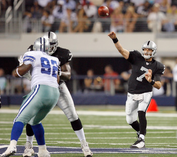 ARLINGTON, TX - AUGUST 12:  Kyle Boller #7 of the Oakland Raiders throws to a receiver in the preseason game against the Dallas Cowboys at Dallas Cowboys Stadium on August 12, 2010 in Arlington, Texas.  (Photo by Tom Pennington/Getty Images)