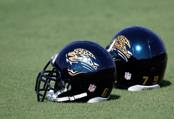 JACKSONVILLE, FL - JULY 30:  Helmets rest on the field of the Jacksonville Jaguars during the first day of Training Camp at EverBank Field on July 30, 2010 in Jacksonville, Florida.  (Photo by Sam Greenwood/Getty Images)